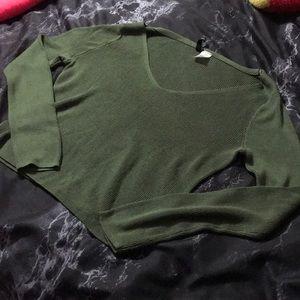 Olive green ribbed v-neck sweater
